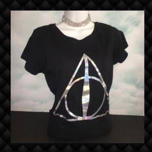 Harry Potter Holographic Logo Black T-Shirt M